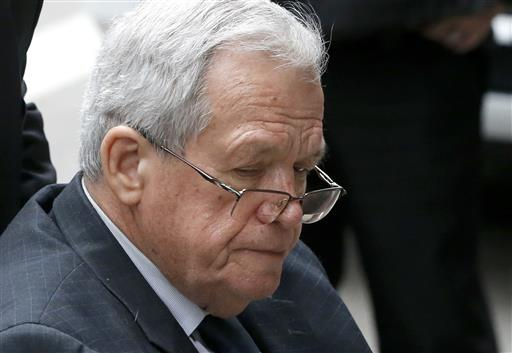 Former House Speaker Dennis Hastert departs the federal courthouse in Chicago.  (AP Photo/Charles Rex Arbogast)