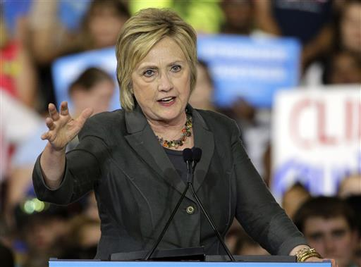 Democratic presidential candidate Hillary Clinton gestures as she speaks during a rally in Raleigh, N.C. (AP Photo/Chuck Burton)