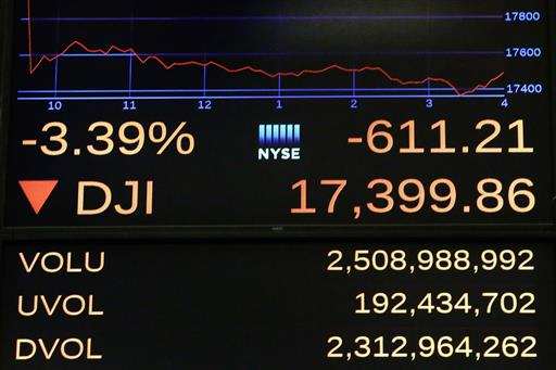 A screen above the floor of the New York Stock Exchange shows the closing number for the Dow Jones industrial average, Friday, June 24, 2016. (AP Photo/Richard Drew)