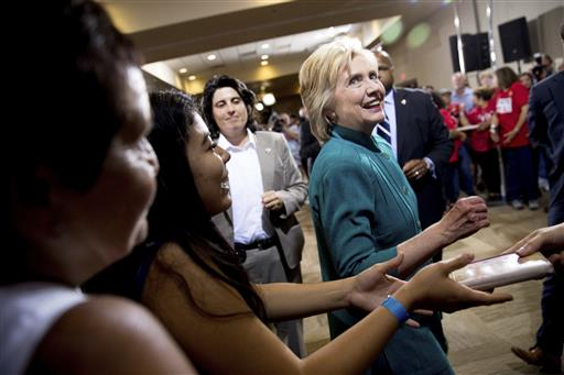 Democratic presidential candidate Hillary Clinton greets supporters after speaking at a rally at the Culinary Academy of Las Vegas in Las Vegas, Tuesday, July 19, 2016. (AP Photo/Andrew Harnik)