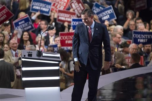 Sen. Ted Cruz, R-Texas, walks from the podium after speaking during the Republican National Convention, Wednesday, July 20, 2016, in Cleveland. (AP Photo/Evan Vucci)