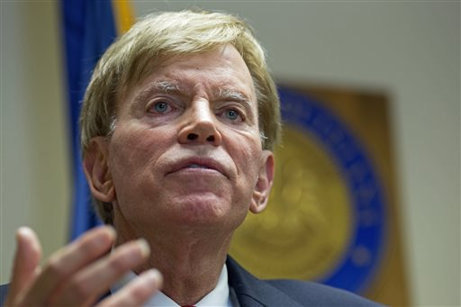 "Former Ku Klux Klan leader David Duke talks to the media at the Louisiana Secretary of State's office in Baton Rouge, La., on Friday, March 22, 2016, after registering to run for the U.S. Senate, saying ""the climate of this country has moved in my direction."" Duke's candidacy comes one day after Donald Trump accepted the GOP nomination for president, and Duke said he's espoused principles for years that are similar to the themes Republicans are now supporting in Trump's campaign, on issues such as immigration and trade. (AP Photo/Max Becherer)"