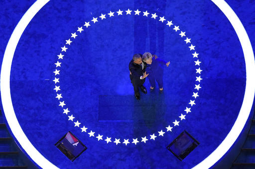 President Barack Obama and Democratic presidential candidate Hillary Clinton wave to delegates after President Obama's speech during the third day of the Democratic National Convention in Philadelphia , Thursday, July 28, 2016. (AP Photo/Mark J. Terrill)