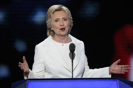 Democratic presidential nominee Hillary Clinton speaks during the final day of the Democratic National Convention in Philadelphia , Thursday, July 28, 2016. (AP Photo/J. Scott Applewhite)