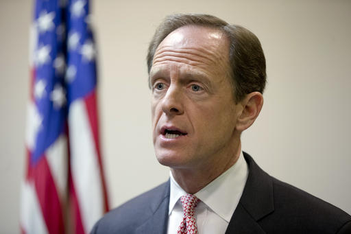 FILE - In this May 9, 2016, file photo, Sen. Pat Toomey, R-Pa., speaks during a news conference in Philadelphia. Republicans aren't just distancing themselves from Donald Trump, they're making a point of not campaigning with him. When Trump was in Pennsylvania last week, Toomey was nowhere to be found. Same with Chuck Grassley in Iowa. (AP Photo/Matt Rourke, File)