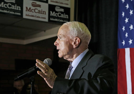 U.S. Sen. John McCain, R-Ariz., speaks to supporters after being declared the winner in the Arizona Republican primary Tuesday, Aug. 30, 2016, in Phoenix. The 80-year-old McCain defeated former state Sen. Kelli Ward and two other Republicans on the ballot. (AP Photo/Ross D. Franklin)