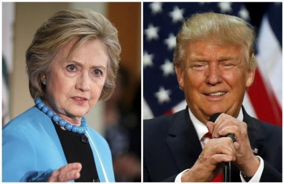 A combination photo shows U.S. Democratic presidential candidate Hillary Clinton (L) and Republican U.S. presidential candidate Donald Trump (R) in Los Angeles, California on May 5, 2016 and in Eugene, Oregon, U.S. on May 6, 2016 respectively.  REUTERS/Lucy Nicholson (L) and Jim Urquhart/File Photos