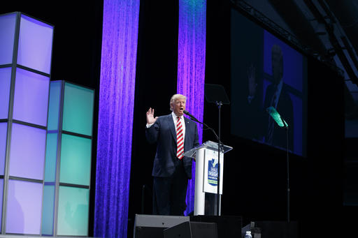 Republican presidential candidate Donald Trump speaks at the Shale Insight Conference, Thursday, Sept. 22, 2016, in Pittsburgh. (AP Photo/ Evan Vucci)