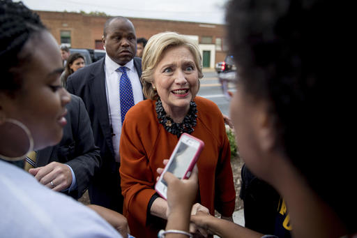 Democratic presidential candidate Hillary Clinton greets early voters at the Leonard J. Kaplan Center for Wellness at the University of North Carolina at Greensboro in Greensboro, N.C., Thursday, Oct. 27, 2016. (AP Photo/Andrew Harnik)