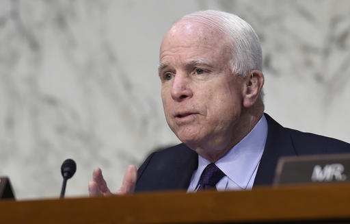 FILE - In this Jan. 27, 2016, file photo, Senate Armed Services Committee Chairman Sen. John McCain, R-Ariz., speaks during a hearing on Capitol Hill in Washington. McCain is feeling the heat from some Republican voters angry that he pulled his support from presidential candidate Donald Trump over a 2005 recording of Trump making crude comments about women. (AP Photo/Susan Walsh, File)
