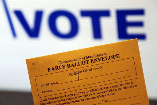 In this Oct. 24, 2016, photo, an early ballot envelope is held at town hall in North Andover, Mass. The millions of votes that have been cast already in the U.S. presidential election point to an advantage for Hillary Clinton in critical battleground states, as well as signs of strength in traditionally Republican territory. (AP Photo/Elise Amendola)