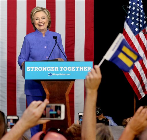 Democratic presidential candidate Hillary Clinton speaks at a rally at The Manor Complex in Wilton Manors, Fla., on Sunday, Oct. 30, 2016. (Patrick Farrell/Miami Herald via AP)