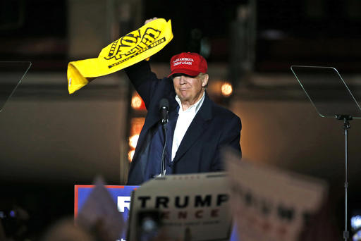 Republican presidential candidate Donald Trump waves a Pittsburgh Steelers Terrible Towel during a plane-side rally in a hanger at Pittsburgh International Airport in Imperial, Pa., Sunday, Nov. 6, 2016. (AP Photo/Gene J. Puskar)