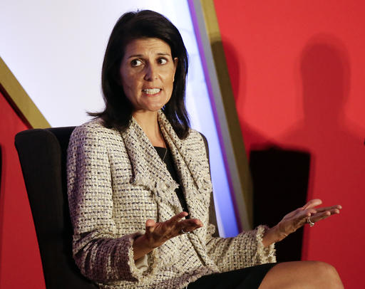 FILE - In this Nov. 15, 2016 file photo, South Carolina Gov. Nikki Haley speaks in Orlando, Fla. President-elect Donald Trump says he intends to nominate Haley to be the next U.S. ambassador to the United Nations. (AP Photo/John Raoux, File)