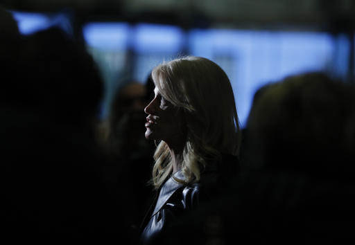 President-elect Donald Trump's campaign manager Kellyanne Conway speaks to media in the lobby of Trump Tower, Monday, Nov. 21, 2016 in New York. (AP Photo/Carolyn Kaster)