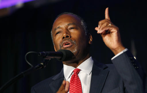 FILE - In this Aug. 25, 2016, file photo, former Republican presidential candidate Dr. Ben Carson speaks before Republican presidential candidate Donald Trump's arrival at a campaign rally in Manchester, N.H. President-elect Donald Trump chose Carson to become secretary of the Department of Housing and Urban Development. Trump's decision, announced early Monday, Dec. 5, by his transition office at Trump Tower in New York, comes as the real estate mogul continues a series of interviews, meetings with aides and other sessions aimed at forming his administration. (AP Photo/Gerald Herbert, File)