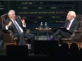 Rex Tillerson being interviewed by Bob Scheiffer