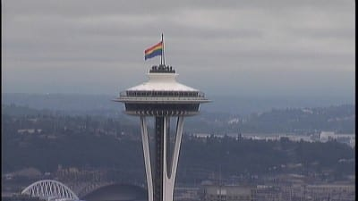 The Pride flag flew from the Space Needle in 2010