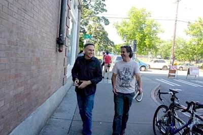 Dow Constantine at 2011's Capitol Hill Block Party with producer Dave Meinert (Image: CHS)