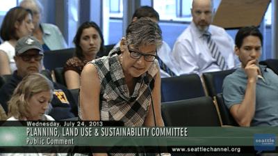 Community group representative Hillenbrand address the Council committee Wednesday.