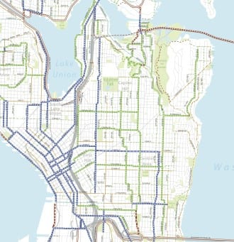 Blue=Protected bike lane. Green=Neighborhood Greenway. Red=Trail. Download full plan and map here