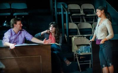 A moment of discussion at a New Century Theatre Company rehearsal (Image: Truman Buffett Photography via New Century Theatre Company)