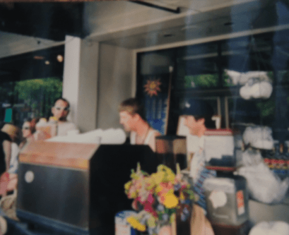 Sowers and Wood working the Cafe Solstice cart in front of the current Jai Thai space, circa 1994. (Image: Picture of picture from Joel Wood)
