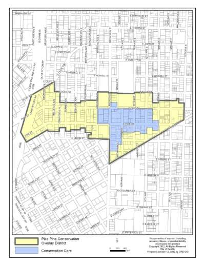 Pike/Pine Conservation Overlay District map, where new incentive rules would apply.
