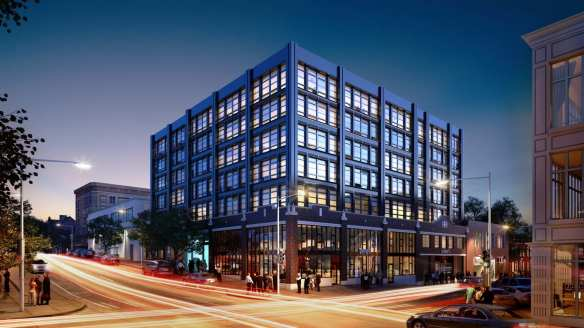 A marketing image for the under-construction Sunset Electric building at 11th and Pine (Image: Sunset Electric)