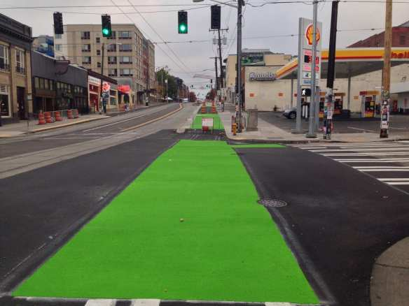 """""""Broadway Cycle Track, across Pike St intersection"""" -- Gordon Werner via Flickr"""