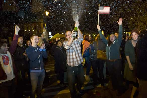 Hill revelers pop the cork on Election Night 2012 (Image: CHS)