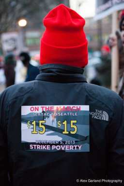 A marcher at Thursday's rally for the $15 minimum in Seattle (Images: CHS)