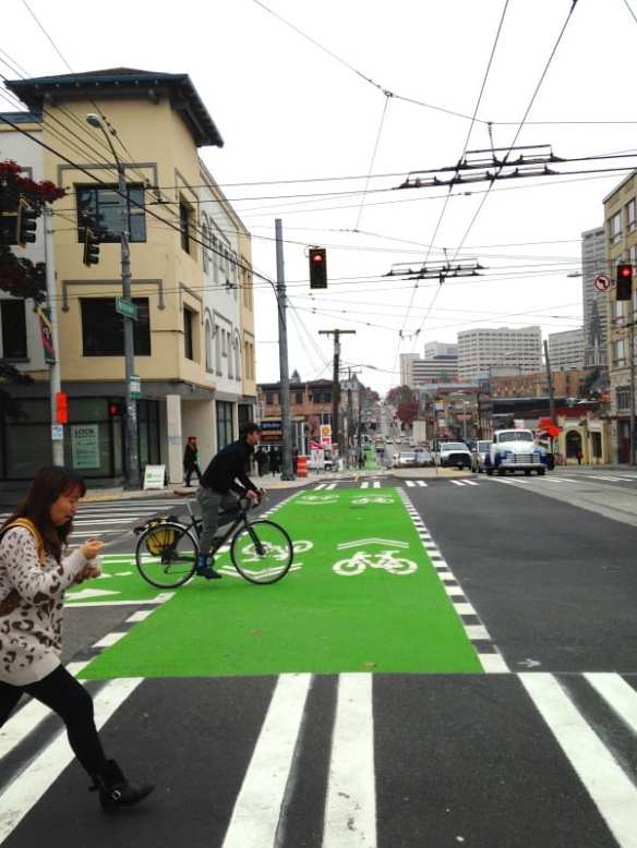 The Broadway Bikeway -- or, at least, part of it -- debuted before McGinn left office. Misunderstood and wrongly maligned, the useful and forward looking project makes a fitting McGinn monument (Image: CHS)