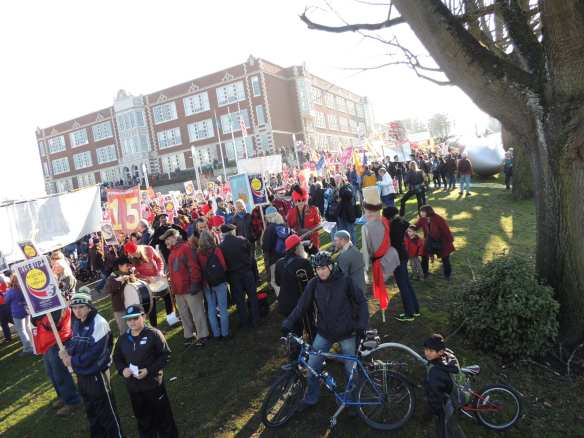 Thousands gathering outside Garfield High School before marching to Westlake Park on MLK Day. (Photo: CHS)