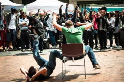 A game of musical chairs at a Seattle Central Unity Fair past (Image: Dave Lichterman for CHS)