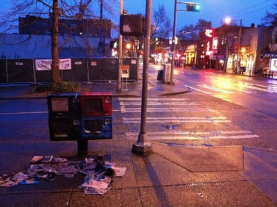 Please do not set the newspaper boxes on fire (Image: CHS)