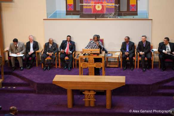 Rev. Dr. Samuel Berry McKinney, third from left, was honored during services Sunday (Images: Alex Garland for CHS)