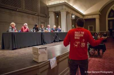 A sea of red dominated last week's City Council hearing on raising the minimum wage (Image: CHS)