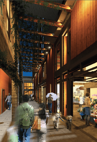 A stroll down the Chophouse Rose mews connecting through the block between 11th and 12th -- now under construction (Image: Dunn + Hobbes)