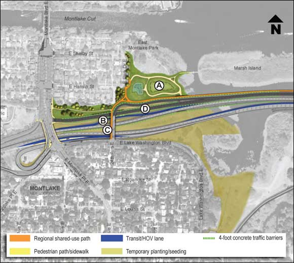 Key landmarks: A. New stormwater treatment facility B. Relocated Montlake freeway transit stop C. New 24th Avenue East off-ramp and shared-use path D. Two westbound lanes to Montlake Boulevard