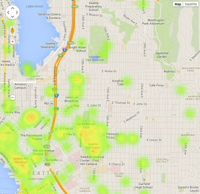 Mapping the inventory shows Seattle's cultural hot spots