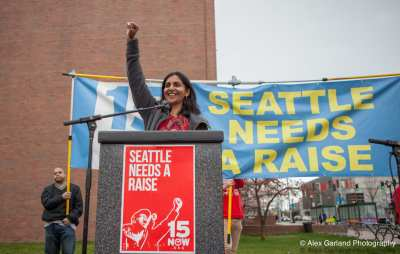 Sawant at a minimum wage rally on Capitol Hill in March (Image: CHS)