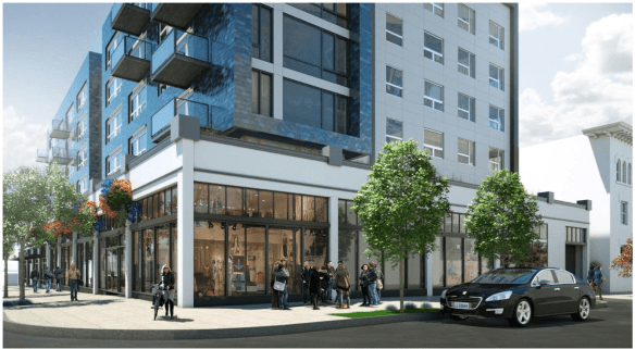 600 E Pike construction, above, is in motion. Here's what the project -- complete with preservation incentives -- will look like when it's completed next year