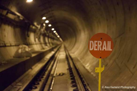Derailers are placed along the route to prevent any runaway equipment during construction