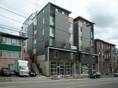 The Cal Park microhousing building