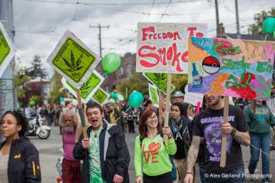 Marchers at this year's Cannabis Freedom March across Capitol Hill (Image: CHS)