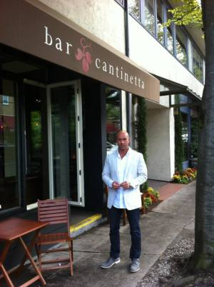 Greenwood outside Bar Cantinetta before its summer 2013 opening (Image: Bar Cantinetta via Facebook)
