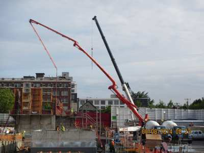 """Lots of concrete got pumped in to help complete Capitol Hill Station this spring and summer. Lots of money will need to be pumped in to complete the """"transit oriented development"""" around the station (Image: Sound Transit)"""