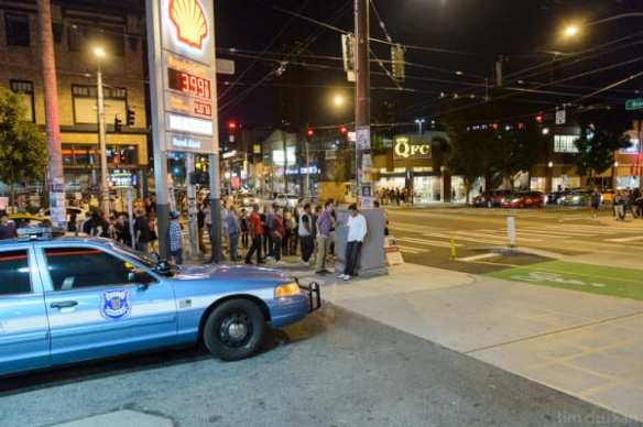 """The early Sunday morning crowd still partying at Pike and Broadway the first weekend of new """"emphasis patrols"""" in the area (Image: Tim Durkan with permission to CHS)"""