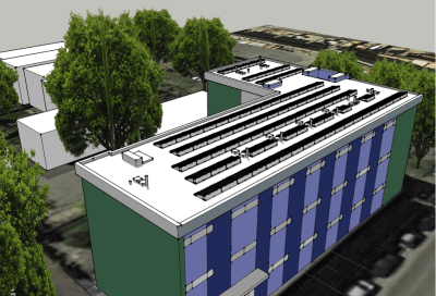 Holiday Apartments community solar rendering